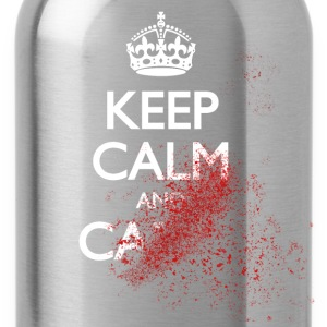 keep calm and carry on blood spatter zombie behåll lugnet och bära på blod sprut zombie T-shirts - Vattenflaska
