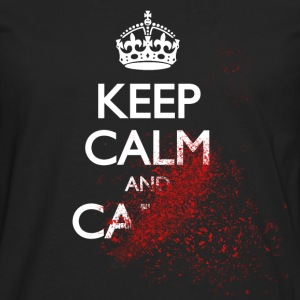 keep calm and carry on blood spatter zombie T-Shirts - Men's Premium Longsleeve Shirt