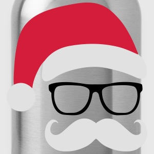 Funny Santa Claus with nerd glasses and mustache Shirts - Water Bottle