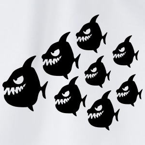 Funny Evil Comic Piranha Fish Swarm T-Shirts - Turnbeutel