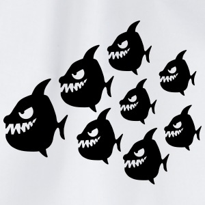 Funny Evil Comic Piranha Fish Swarm T-Shirts - Drawstring Bag