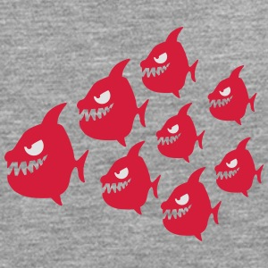 Funny Evil Comic Piranha Fish Swarm T-Shirts - Men's Premium Longsleeve Shirt