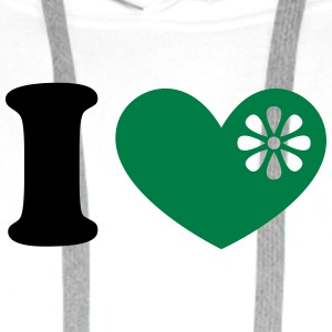 I heart organic green food, love, like, vegan, eco - Men's Premium Hoodie