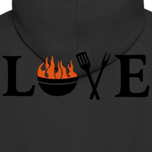 I love Barbeque Grill Grilling Chef BBQ T-Shirts - Men's Premium Hooded Jacket