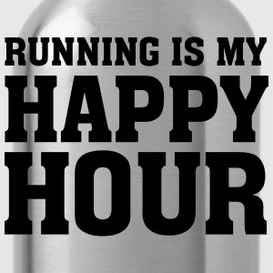 Running Is My Happy Hour T-Shirts - Water Bottle