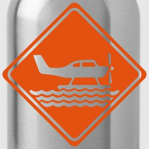 Warning Waterplane - 1 Color Vector T-Shirts - Water Bottle