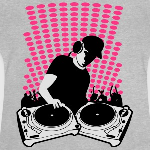 DJ with Turntables and background Shirts - Baby T-Shirt