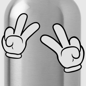 Comic Hands Peace Sign Langarmshirts - Trinkflasche