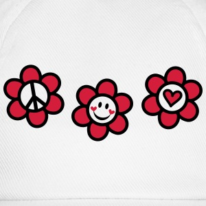 Peace Love Happiness Free Summer Festival Flower  T-Shirts - Baseball Cap