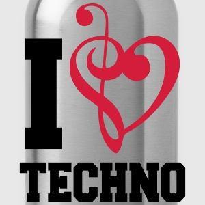 I Love Techno Music T-Shirts - Trinkflasche
