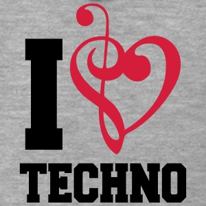 I Love Techno Music T-Shirts - Men's Premium Hooded Jacket