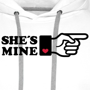 Girlifriends love gift Finger She is mine heart T-shirts - Mannen Premium hoodie