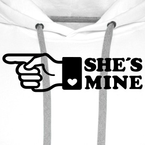 Finger She is mine! girlfriend like hands gift fun - Männer Premium Hoodie