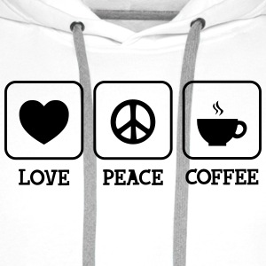Love, Peace, Coffee Tee shirts - Sweat-shirt à capuche Premium pour hommes
