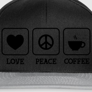 Love, Peace, Coffee Magliette - Snapback Cap
