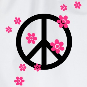 vredes symbool peace bloemen zomer hippie liefde T-shirts - Gymtas