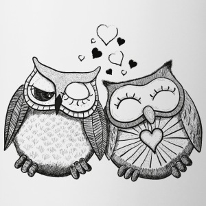 owls in love  búhos en el amor  Camisetas - Taza