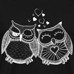 owls in love  hiboux amoureux  Sweat-shirts - T-shirt Premium Homme