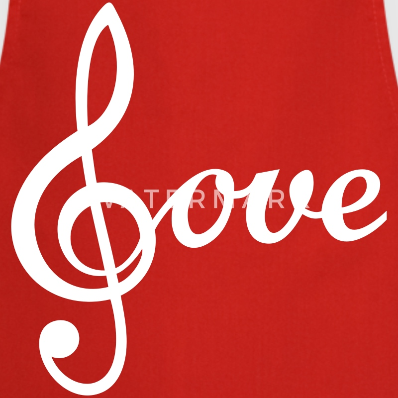 I love Music Treble Clef de Sol Icon Clipart  Aprons - Cooking Apron