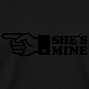 Finger She is mine! girlfriend like hands gift fun Long sleeve shirts - Men's Premium T-Shirt