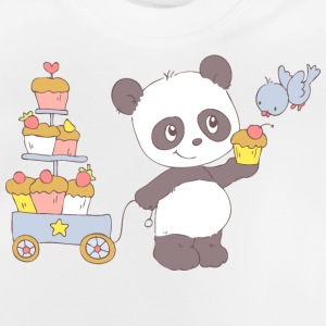 Panda with cart of cupcakes Shirts - Baby T-Shirt
