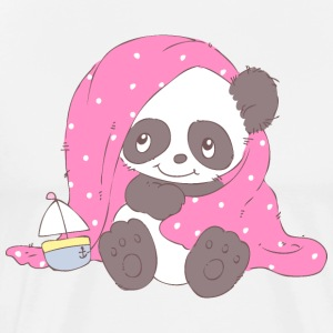 Cute Panda covered with blanket  Aprons - Men's Premium T-Shirt