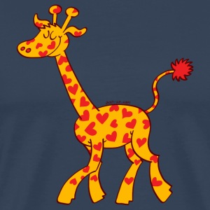 Red Heart Spotted Giraffe Long Sleeve Shirts - Men's Premium T-Shirt