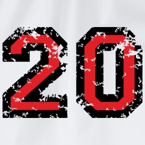 The Number Twenty - No. 20 (two-color) red T-Shirts - Drawstring Bag