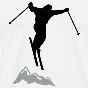 downhill ski mountain Sweatshirts - Herre premium T-shirt
