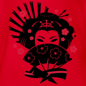 A geisha with a fan  Shirts - Organic Short-sleeved Baby Bodysuit