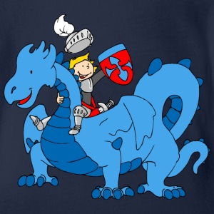 Boy Knight riding Blue Dragon Shirts - Organic Short-sleeved Baby Bodysuit