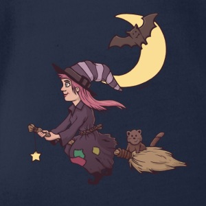little witch on magic broom Shirts - Organic Short-sleeved Baby Bodysuit