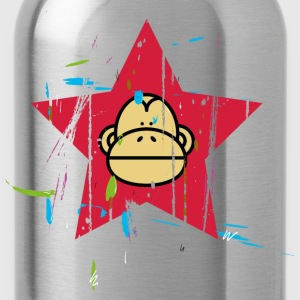 Monkey Red Star - Affen Revolution Langarmshirts - Trinkflasche