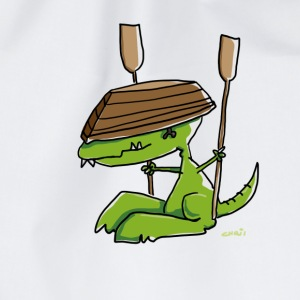 Funny dinosaur with a rowing boat Long Sleeve Shirts - Drawstring Bag