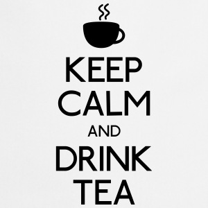 keep calm drink tea mantener calma beber té Sudaderas - Delantal de cocina