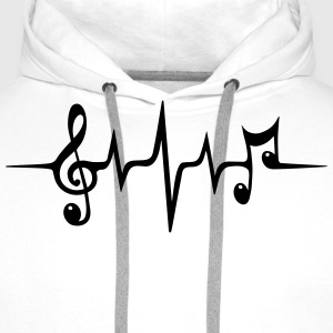 Heart rate pulse music note clef Electro Classic T-Shirts - Men's Premium Hoodie