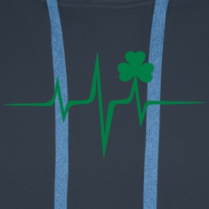 Music heart rate shamrock Patricks Day Irish Folk Magliette - Felpa con cappuccio premium da uomo