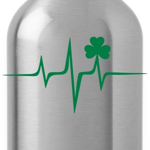 Music heart rate shamrock Patricks Day Irish Folk T-Shirts - Water Bottle