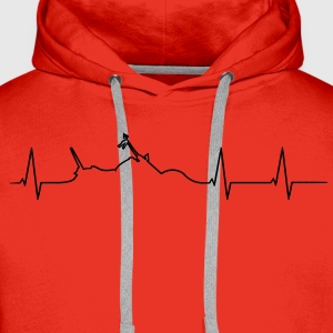 Motorcycle Chopper heartbeat  T-Shirts - Men's Premium Hoodie