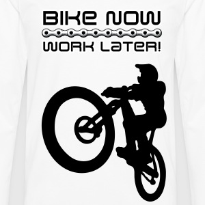 Bike now, work later! - Männer Premium Langarmshirt