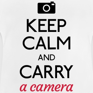 keep calm and camera holde ro og kamera Skjorter - Baby-T-skjorte