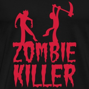 ZOMBIE KILLER with guy killing a zombie Hoodies - Men's Premium T-Shirt