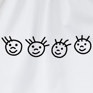 4 stick figure faces Shirts - Drawstring Bag