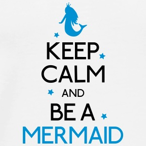 keep calm mermaid holde ro mermaid Kopper & flasker - Premium T-skjorte for menn