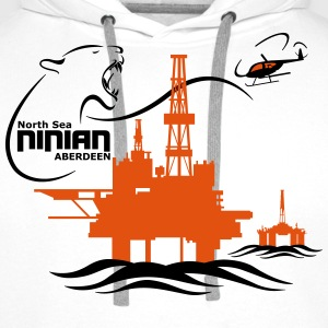 Ninian Oil Rig Platform North Sea Aberdeen - Men's Premium Hoodie