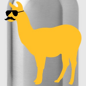 Funny llama with sunglasses and mustache Langarmshirts - Trinkflasche