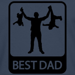 Best Dad - Funny Silhouette - Father and Children  - Men's Premium Longsleeve Shirt