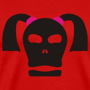 Red skull with pigtails Ladies' - Men's Premium T-Shirt