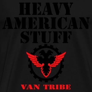 Black HEAVY AMERICAN STUFF by VAN TRIBE FASHION Tops - Men's Premium T-Shirt