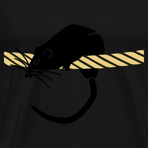Zwart rat op een touw / rat on rope (2c) Tops - Mannen Premium T-shirt